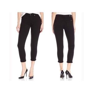 7 for all Mankind Black Skinny Crop and Roll Jeans